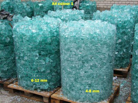 GABIONS FILLED WITH GLASS ROCK