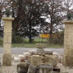 OLD LIMESTONE AND BLUE STONE PILARS